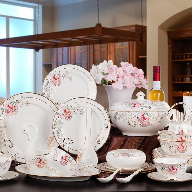 姹紫嫣红 碗碟套装描金骨瓷餐具