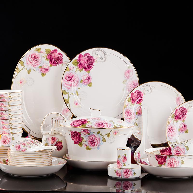 皇家玫瑰  60头欧式描金骨瓷餐具套装