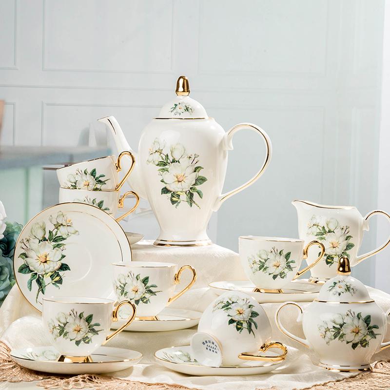 15头欧式咖啡杯碟套装 高档骨瓷可定制