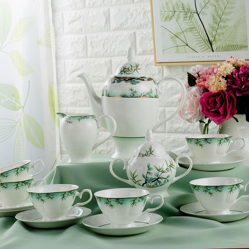 15头景德镇骨瓷咖啡器具套装可泡花茶