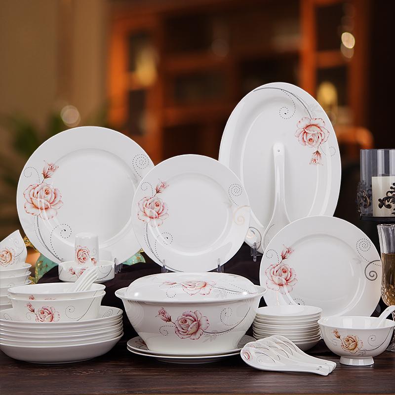 时尚玫瑰  58头景德镇高档骨瓷餐具
