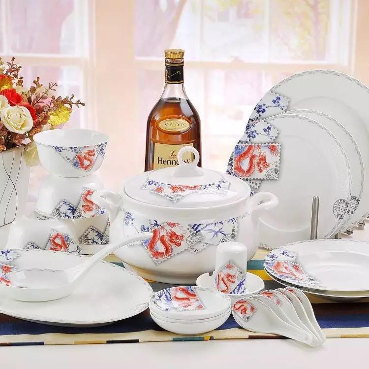 期盼福音景德镇陶瓷56头骨瓷餐具套装