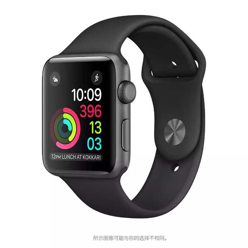 Apple/苹果 深空灰色铝金属表壳搭配黑色运动型表带