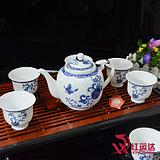 七头大容量带过滤网7件青花茶具套装不烫手 隔热茶具茶杯
