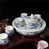 特价!景德镇陶瓷茶具 8头双层盘茶具 茶具套装 青花龙 龙年礼品