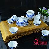 红运达品牌茶具 特价!高档双层礼品盒,青花 茶壶 茶叶罐 盖碗