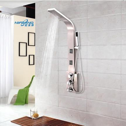 尼芙邦卫浴龙头 不锈钢沐浴屏淋浴屏花洒套装喷淋冷热按摩下出水