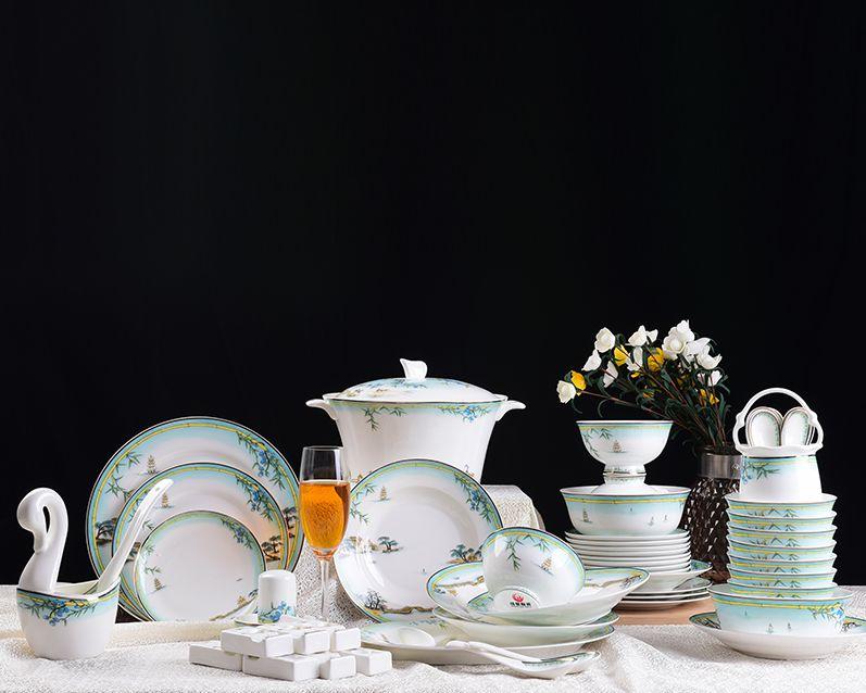 西湖景 高档家庭厨房餐具套装60头家用陶瓷碗碟套装欧式骨瓷碗盘碗筷送礼