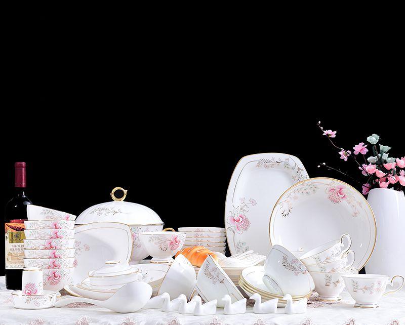花前月下 70头景德镇高档简约骨瓷瓷器西餐餐具套装碗盘咖啡杯家用欧式创意送礼