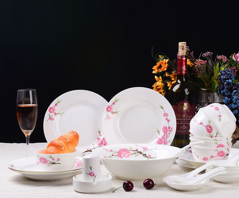 水点桃花28头景德镇中式高档环保骨瓷组合餐具
