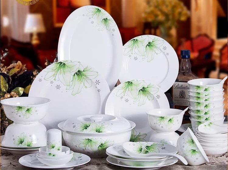 特价 绿相约48头景德镇精品骨瓷餐具套装