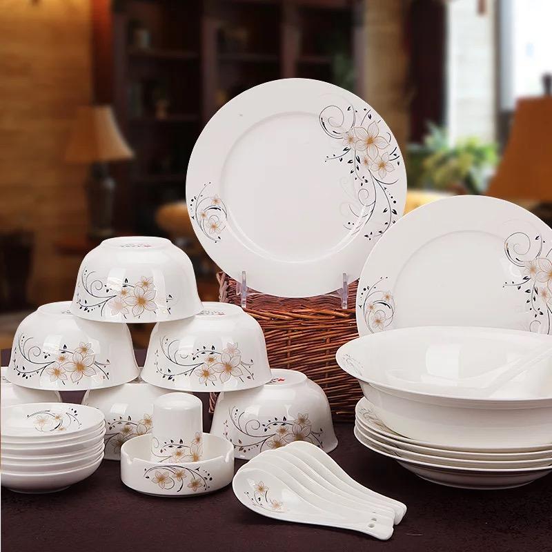 星月神话景德镇正品陶瓷餐具56头圆形方形配品锅餐具套装
