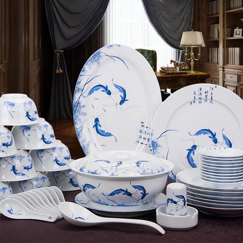 景德镇年年有鱼56头圆形方形餐具套装