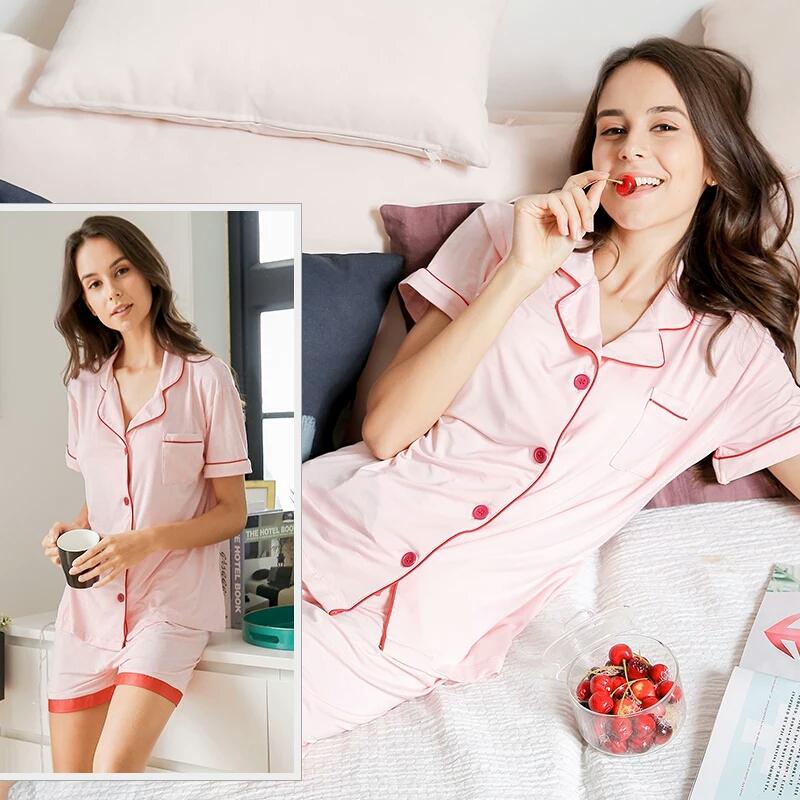 夏季上新简约家居衬衫领睡衣套装薄款清爽可爱睡衣短裤长裤套装女