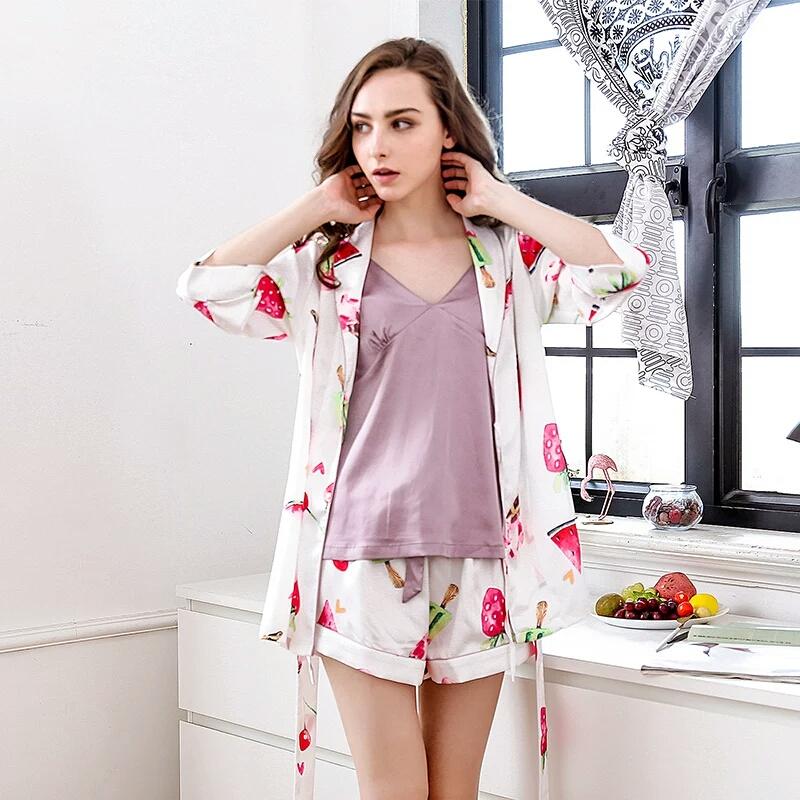 春秋新款家居睡衣女中袖薄款冰丝三套装睡袍吊带宽松大码三件套