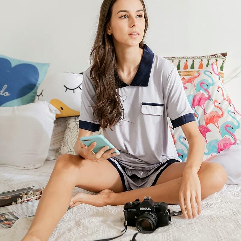 莫代尔睡衣两件套夏季新款简约居家风薄款睡衣小翻领短裤睡衣套装
