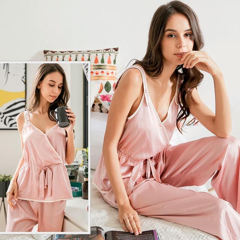 夏季时尚吊带睡衣两件套简约清爽V领睡衣休闲性感女士家居睡衣女
