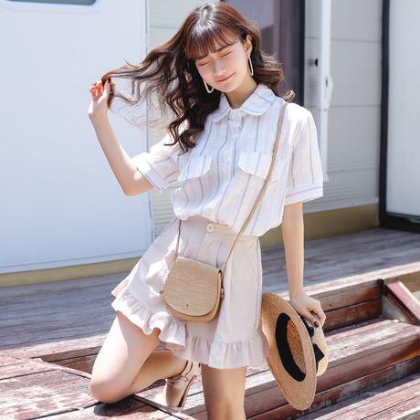 东大门韩版夏撞色条纹学院风减龄假口袋短袖翻领衬衫女上衣