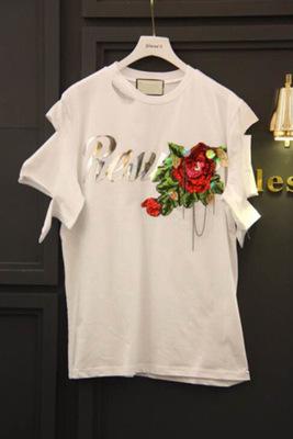 2018夏装新款字母亮片花朵短袖T恤女时尚休闲百搭半袖体恤上衣潮