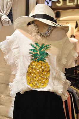   韩国东大门新款韩版钉珍珠bling闪亮片菠萝T恤女木耳边流苏上衣仙