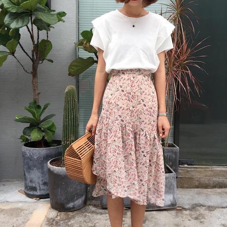    2018韩国东大门纯色木耳边短袖T恤+小碎花半身裙不规则套装2件