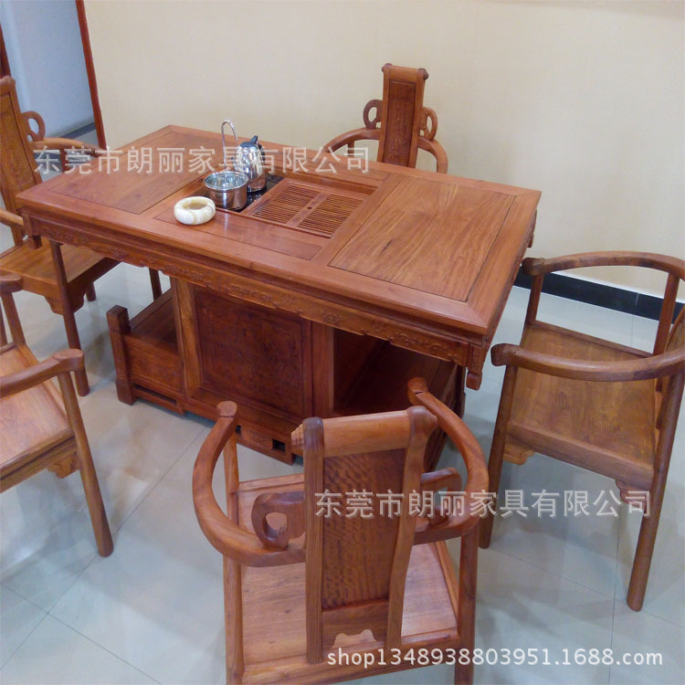 【朗丽】直销古典中式缅甸大果紫檀花梨木制茶桌椅 红木茶几茶具