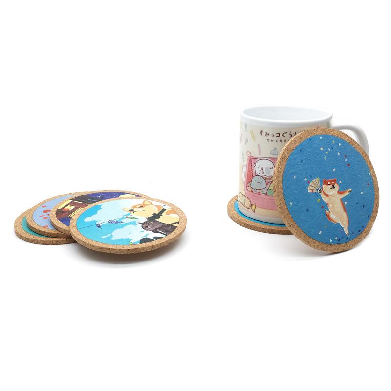 厂家直销 创意环保圆形软木杯垫 防水茶杯垫餐桌垫 可定制logo