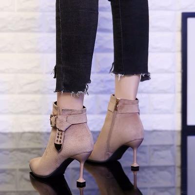 2018秋冬新款高跟鞋女细跟尖头短靴英伦百搭时尚女靴子磨砂马丁靴