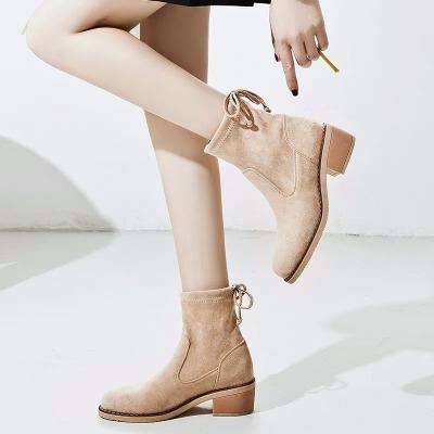 粗跟鞋子女2018新款百搭网红短靴弹力靴女秋冬中跟瘦瘦靴短筒