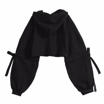 自制短款卫衣女装潮连帽长袖韩版宽松系带纯色上衣