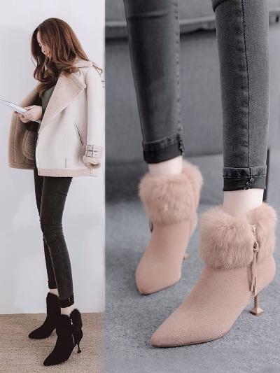 加绒短靴女2018新款靴子秋冬女鞋棉鞋冬季女靴高跟鞋子细跟雪地靴