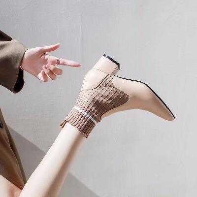 2018春秋新款中跟ins超火短筒袜靴女尖头粗跟弹力瘦瘦靴