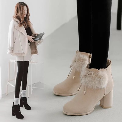2018冬季新款蝴蝶结兔毛短靴粗跟马丁靴高跟保暖女靴子棉鞋雪地靴