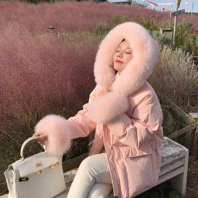 羽绒服女2018新款韩版粉色大毛领连帽加厚轻薄白鸭绒冬装外套