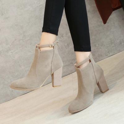 2018新款短靴春秋季马丁靴冬女鞋韩版百搭单靴高跟鞋粗跟尖头裸靴