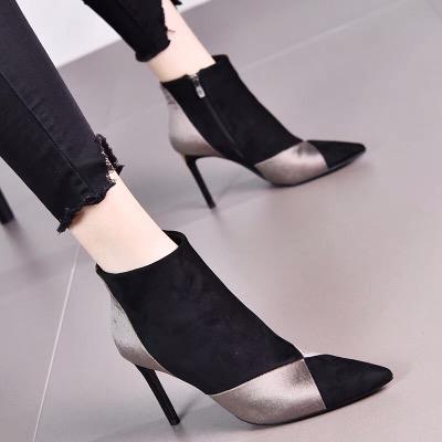 2018秋冬款韩版流行新款拼接绒面侧拉链细跟高跟鞋短靴马丁靴女士
