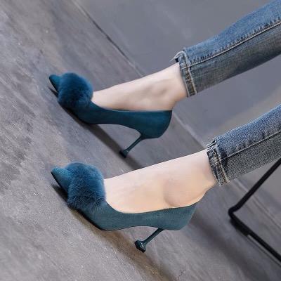 毛毛鞋女尖头细跟中跟黑色高跟鞋女秋冬新款2018时尚百搭猫跟鞋女