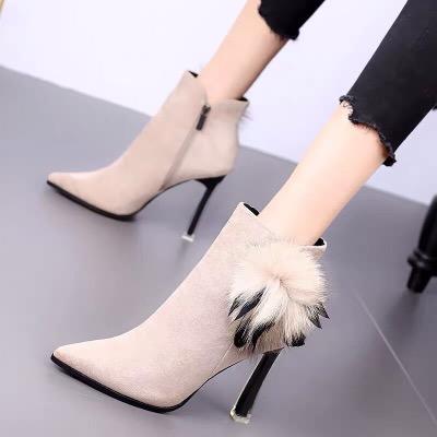 2018冬季新款短靴女粗跟秋款高跟鞋网红性感棉鞋百搭加绒马丁靴潮