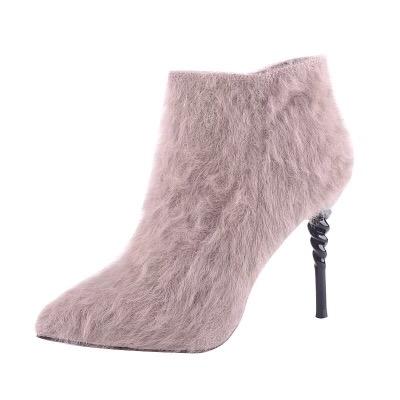 加绒小短靴女细跟2018秋新款毛毛高跟鞋性感冬季时尚百搭网红靴子