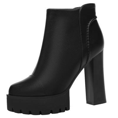 高跟鞋女冬粗跟2018新款秋季鞋子女韩版百搭厚底防水台女皮鞋