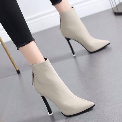 网红小短靴女2018秋冬季新款马丁靴女英伦风尖头高跟鞋细跟瘦瘦靴