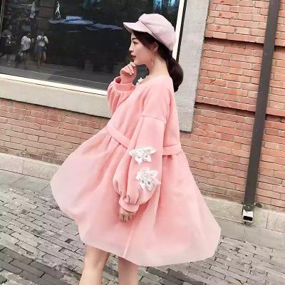 原创2018秋装新款绣花欧根纱拼接加绒A字卫衣裙女
