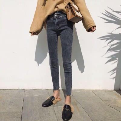 2018新款秋季高腰网红牛仔裤女显瘦加绒冬季复古紧身九分小脚薄绒