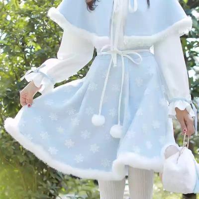 秋冬新款汉元素改良汉服中华风软妹雪花植绒大摆兔毛半身裙