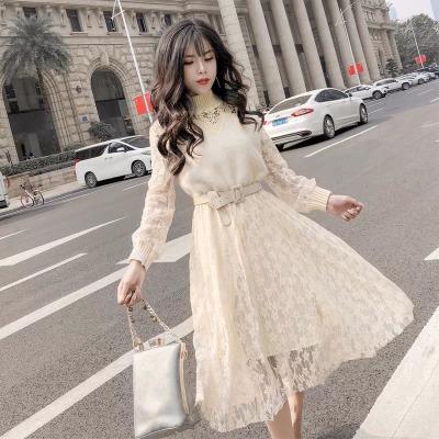 秋冬新款女甜美气质半高领收腰长袖连衣裙中长款百搭打底蕾丝裙女