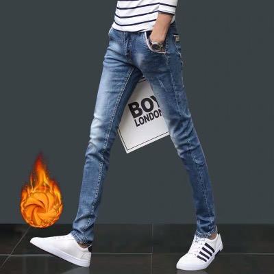 秋冬加厚男士牛仔裤男韩版潮流弹力休闲裤修身型直筒小脚加绒长裤