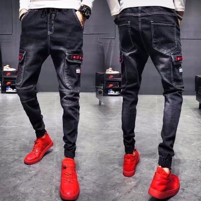 牛仔裤男韩版修身小脚裤时尚潮流个性帅气裤子青年学生网红长裤男