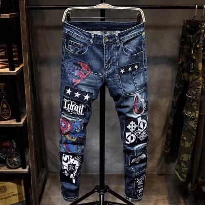 刺绣牛仔裤男小脚裤修身时尚都市韩版个性潮流青春帅气小直筒裤子