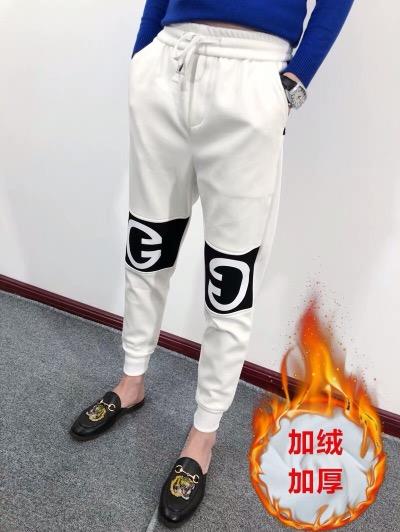 冬季快手网红同款白色双G裤子男精神社会小伙修身韩版休闲小脚裤