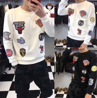 2018冬季新款韩版休闲加绒保暖长袖T恤男社会精神小伙潮卫衣上衣